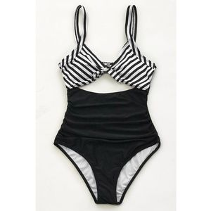 NWT Cupshe Striped, Ruched Swimsuit (Size M)
